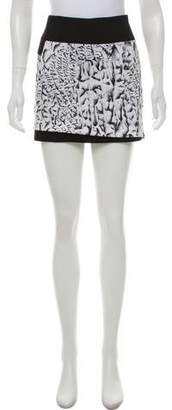 Helmut Lang Linen Patterned Mini Skirt