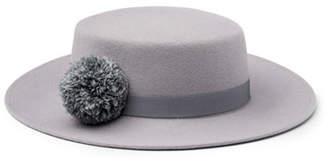Eugenia Kim Brigitte Wool Felt Boater Hat, Gray