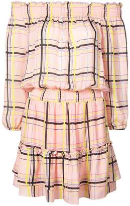 Nicole Miller electric plaid off shoulder dress