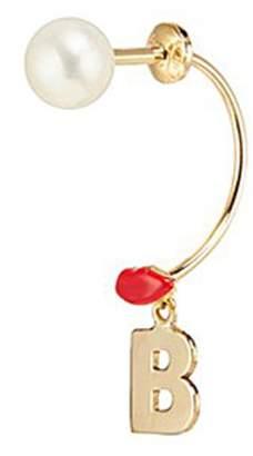 Delfina Delettrez 'ABC Micro Lips Piercing' freshwater pearl 18k yellow gold single earring - B
