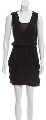 A.L.C. Silk Raw-Edge Trim Mini Dress Black Silk Raw-Edge Trim Mini Dress