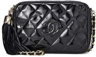 Chanel Black Quilted Patent Leather Camera Bag Small
