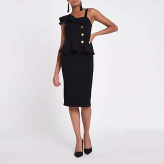 River Island Black rib button Bodycon midi dress