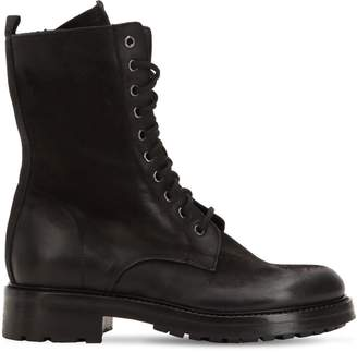 Elena Iachi 30mm Washed Leather Combat Boots