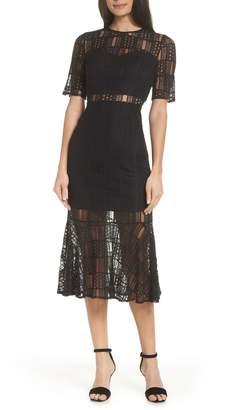 AVEC LES FILLES Ruffle Hem Lace Dress