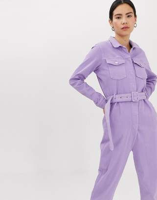 Tomorrow Denim Tomorrow organic belted denim jumpsuit in lilac