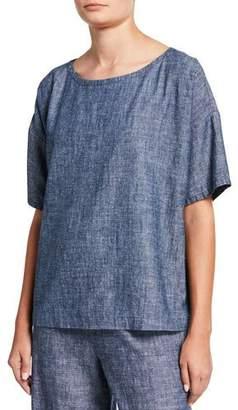 Eileen Fisher Chambray Scoop-Neck Short-Sleeve Top