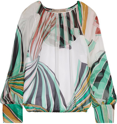 Emilio Pucci - Printed Silk-chiffon Blouse - Light green