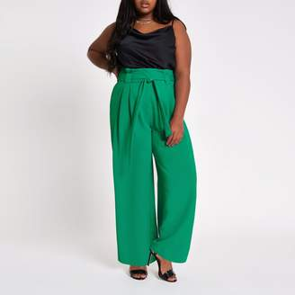 River Island Womens Plus green paperbag waist wide leg trousers