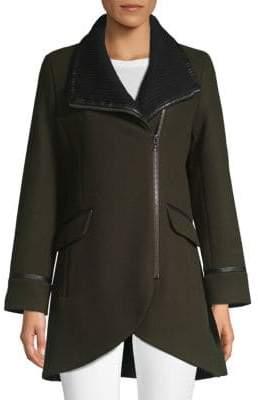 Trina Turk Mackenzie Leather-Trimmed Moto Coat
