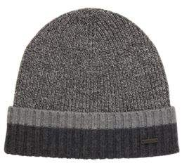 BOSS Hugo Beanie hat in virgin wool contrast turn-up One Size Black