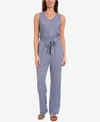 NY Collection V-Neck Belted Jumpsuit