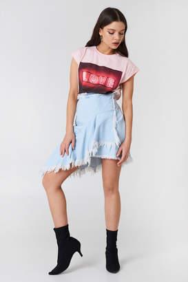 NA-KD Na Kd Asymmetric Raw Hem Denim Skirt