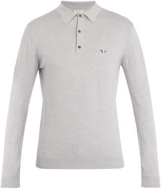 MAISON KITSUNÉ Fox-appliqué wool polo shirt