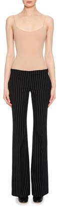 Alexander McQueen Flat-Front Pinstripe Bootleg Pants