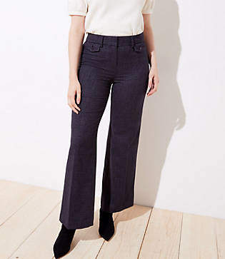 LOFT Houndstooth High Waist Wide Leg Trousers in Curvy Fit