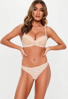 Missguided Nude Lace Overlay Push Up Bra And Thong Set