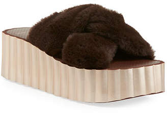 Tory Burch Faux-Fur Scallop Wedge Slide Sandal