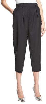 Robert Rodriguez Easy Pleat-Front High-Waist Cropped Pants, Black $295 thestylecure.com