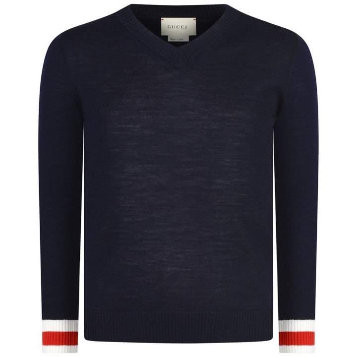 GUCCIBoys Navy Merino Wool V Neck Sweater