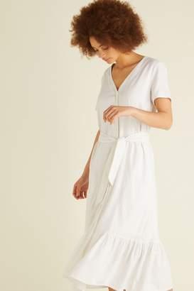 Oliver Bonas Womens White Linen Button Midi Dress - White