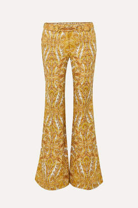 Zimmermann Zippy Paisley-print Linen Flared Pants - Gold