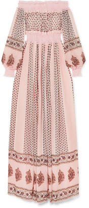 Giambattista Valli Off-the-shoulder Shirred Lace-trimmed Printed Silk-georgette Gown - Blush