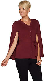 Joan Rivers Classics Collection Joan Rivers Sweater Knit Button Front Cape withBelt