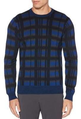 Perry Ellis Winter Multi Color Plaid Crewneck Sweater