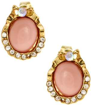 Johnny Loves Rosie Opaque Gem and Crystal Oval Earrings