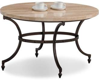 Leick Home Oval Travertine Stone Top Coffee Table with Rubbed Bronze Metal Base