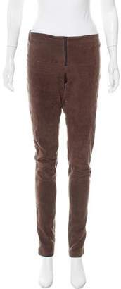 Alice + Olivia Suede Low-Rise Pants