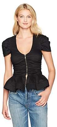 Nicole Miller Women's Cotton Metal Peplum Top