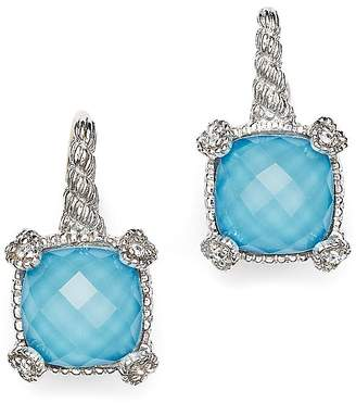 Judith Ripka Cushion Heart Prong Earrings with White Sapphire and Turquoise Doublets