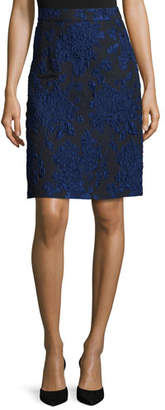 Escada Floral-Print A-Line Skirt, Navy/Black