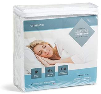 Greenco Premium Hypoallergenic Waterproof Mattress Protector - Vinyl Free (Queen)