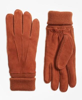 Brooks Brothers Deerskin Suede Knit-Trimmed Gloves