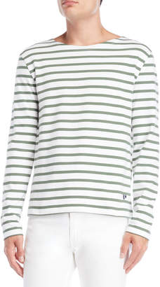 Le Mont St Michel White & Green Mariniere Breton Stripe Long Sleeve Tee