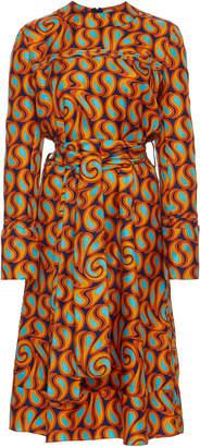 Marni Woven Long Sleeve Silk Dress With Self Tie Belt