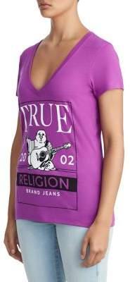 True Religion WOMENS CRYSTAL EMBELLISHED BUDDHA FRAME LOGO TEE