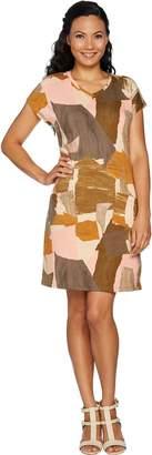 Logo By Lori Goldstein LOGO Lounge by Lori Goldstein French Terry Printed V-Neck Knit Dress