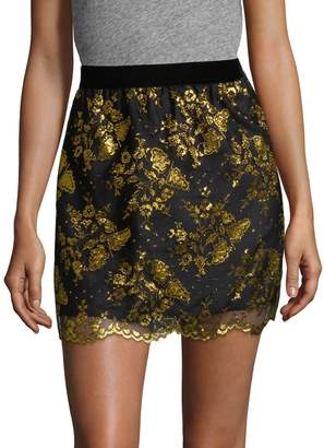 Anna Sui Women's Metallic Lace Mini Skirt