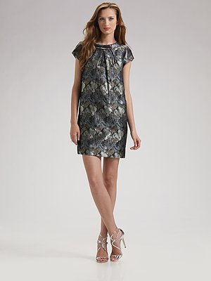 Theia Tulip Brocade Mini Dress