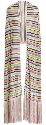 Missoni Fringe-Trimmed Metallic Striped Stretch-Knit Wrap