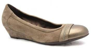 "Attilio Giusti Leombruni D106050"" Shimmery Taupe Suede Low Heel Wedge"