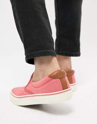 at ASOS Polo Ralph Lauren Thompson 2 Pique Slip On Plimsolls Leather Trims  In Pink