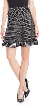 Vila Milano Fence Print Knit Skirt