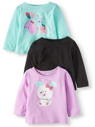 Garanimals Long Sleeve Graphic & Solid T-Shirts, 3-pack (Baby Girls)