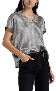 Lisa Perry Women's Metallic Silk-Blend Flyaway Blouse - Silver