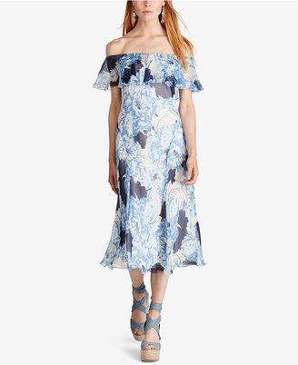 Polo Ralph Lauren Cold-Shoulder Floral-Print Silk Dress $398 thestylecure.com